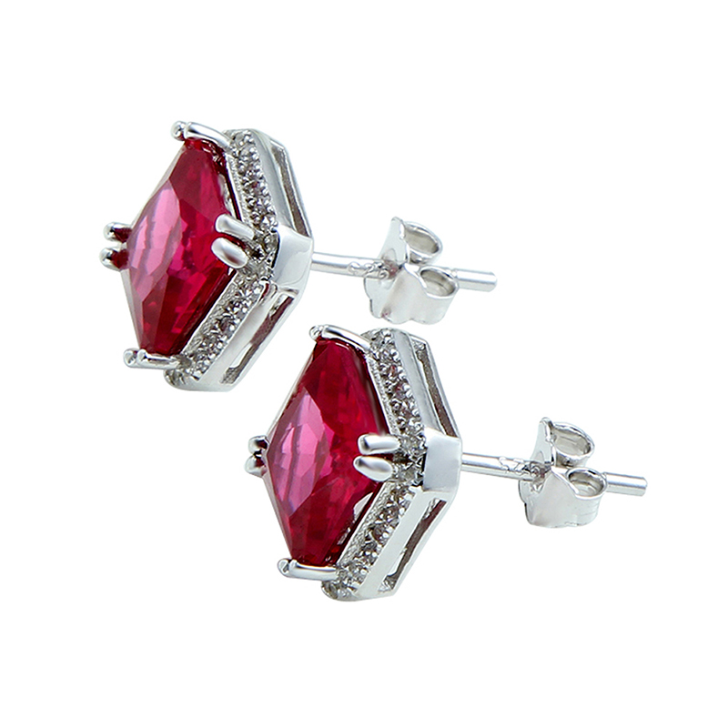 Aliexpress Jqueen 3ct Ruby Red Earrings Princess Cut 925 Sterling Silver Bijoux Wedding Vintage Stud From Reliable