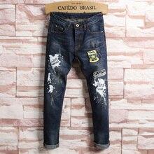 European Style Fashion Men's Jeans Classic Designer Ink Print Slim Cotton Straight Jeans Male Luxury Brand Blue Denim Trousers
