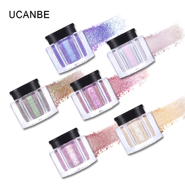 UCANBE Brand Crystal Luster Glitter Eyeshadow Powder Pigment Metallic Shiny Holographic Eye Toppers Single Eye Shadow Makeup 3