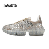 New Luxurious Rhinestones Sneakers Women Shoe Genuine leather Crystal Transparent Bottom Platform shoes Woman Runway Shoes