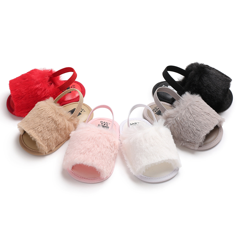 Romirus Fashion Hairy Newborn Baby Shoes Footwear Infant Toddler Cute First Walkers Summer Girls Princess Dress Cool Beach Shoes Modern Design First Walkers