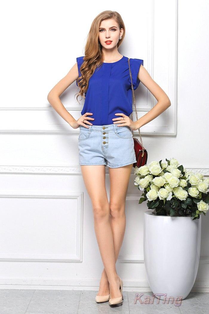 HTB1K3jNGFXXXXcKXVXXq6xXFXXXD - Short Butterfly Sleeve Women Blouses Clothing Casual Chiffon Shirt