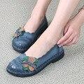 2017 Новый 100% Натуральная Кожа Женщины Квартиры Марка Ручной Sapato Случайные Натуральной Кожи Обувь для Женщин Шитье Обуви Вождения Femme