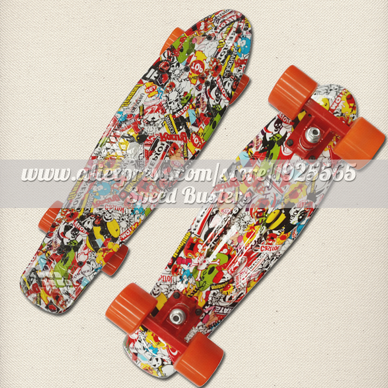Free Shipping 22 Inch Fish Skate Board Pastel Color Banana Board Mini Cruiser Long Skateboard Four-wheel Street Longboard