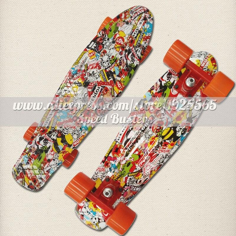 Free Shipping 22 Inch Fish Skate Board Pastel Color Banana Board Mini Cruiser Long Skateboard Four-wheel Street Longboard