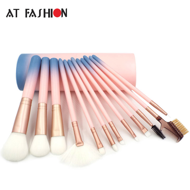 12pcs Makeup Brushes professional Cosmetics brush Set High Quality Synthetic Hair Make Up Brushes Kit With with Cup Holder Case dental kerr finishing polishing assorted kit occlubrush cup brushes 1set