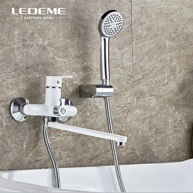 LEDEME Bathtub Faucet Shower Set Brass Body Showers with 3-Function Handhead ABS Shower Head Long Spout Bathroom Shower Faucet цена