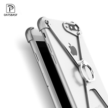 Oatsbasf X Shape Case for Apple iPhone 7 Personality Shell Plus Metal Border Bumper Ring Holder cases