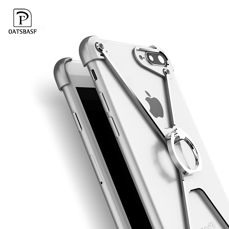 Oatsbasf X forma borde de Metal para iphone 7 personalidad Shell para iphone 7 Plus de parachoques de Metal anillo de casos para iphone 6