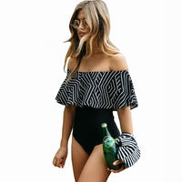 Swim Suit 2017 New Off The Shoulder Swimsuit One Piece Swimwear Women Padded Ruffle Swimming Suit