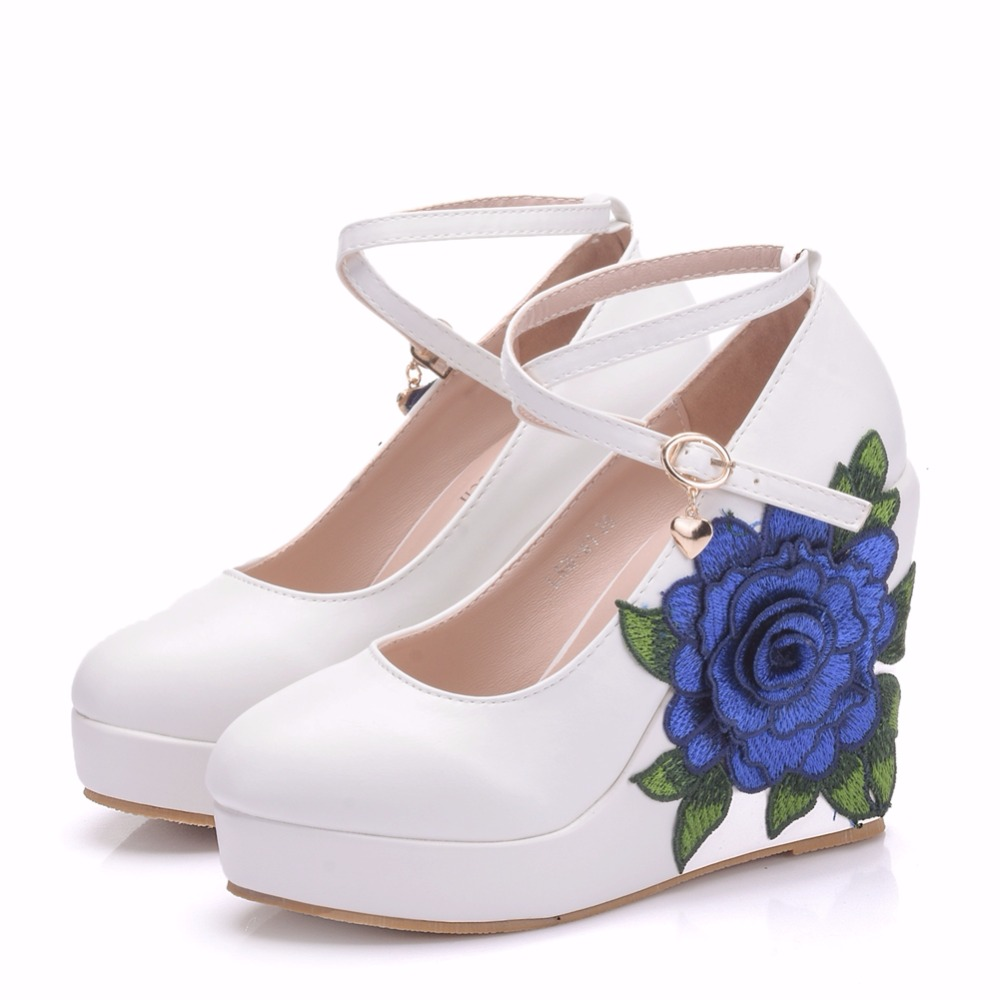 26d18065b8 Crystal Queen Blue Lace Flower Bride Wedge Shoes High Heel Wedding Dress  Shoes With Matching Bag Wedges Pumps With Purse