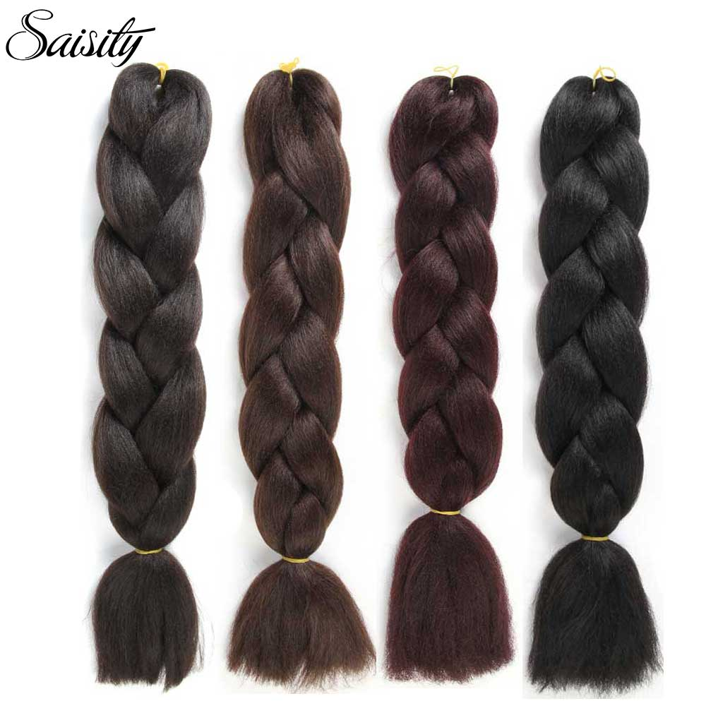 Saisity Black Brown 99J Dark Xpressions Braiding Hair Jumbo Braids Crochet Hair Box Braids Synthetic Hair Extensions