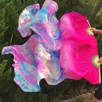 جديد وصول 100% النقي الحرير مروحة الحجاب الحقيقي لل الرقص الشرقي مثير طويل الحرير المشجعين للراقصين 1.8*0.9 متر التعادل مصبوغ اللون
