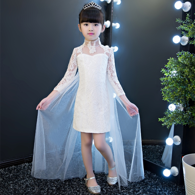 2017 New Arrival Summer Baby Girls White Color Princess Dress Children Kids Birthday Wedding Party Dress Pageant Sweet Dress 2018 new korean sweet autumn summer children baby birthday wedding party prom dress kids girls pink color flowers pageant dress