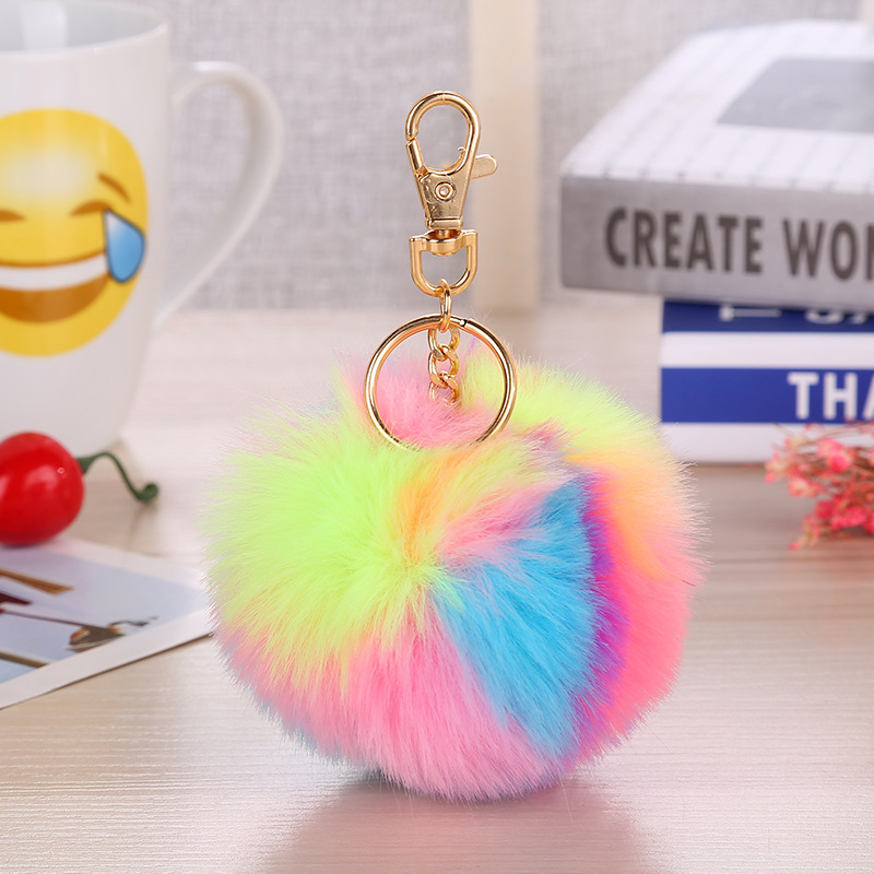 Multicolor Fluffy Fur Pompom Balls Keychain Car Handbag Pendant for Women Faux Fur Pompom Key Chain Keyring Gifts for Friends