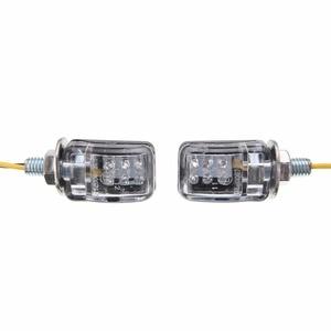 Image 3 - 1 쌍 6LED 12V 오토바이 미니 턴 신호등 앰버 블 링커 표시기 크루저 쵸퍼 투어링 듀얼 용 작은 직사각형 램프