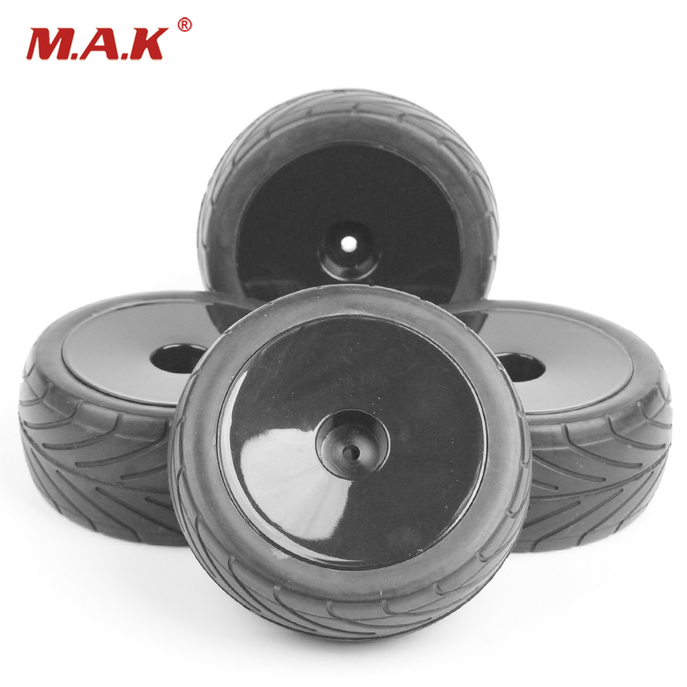 4pcs Wheel Rim Tire Set Off-Road Tires Front Rear Tires Buggy Tyres for 1:10 RC Car 25026+27007 rc car model off road buggy tires and wheel rim 25026 27013 for hsp hpi 1 10 rc buggy car toys accessories