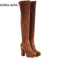 2019 г. новые высококачественные коричневые ботфорты выше колена на молнии зимние женские замшевые сапоги обувь на платформе и высоком каблу