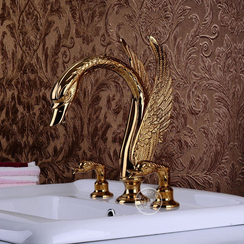 Becola Swan Sink Faucet Animal Faucets Double Handle Gold