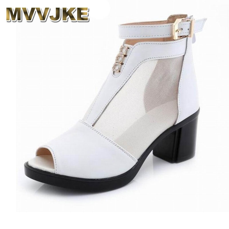 MVVJKE 2018 Spring Summer New Genuine Leather Ankle Boots Hollow Mesh Boots Women Shoes Female Fashion Zipper Summer Shoes