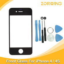 Best quality Front Glass For iPhone 4 4s Touch Screen Digitizer Panel LENS Replacement Outer Glass For iPhone 4 4S With Tools