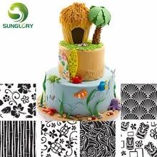 6PCS Hawaiian Texture Sheet Set Sugar Craft Decoration Mat For Cookie Cupcake Fondant Cake Mold Baking Tools Cakes