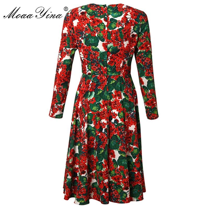MoaaYina moda diseñador vestido de pasarela primavera otoño mujeres Vestido de manga larga de cristal aplique Floral vestidos-in Vestidos from Ropa de mujer    2