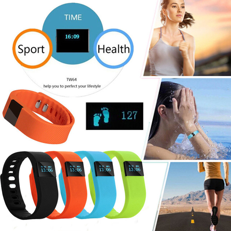 BUMVOR Couple Newest TW64 Fitness Tracker Bluetooth Smartband Sport Bracelet Smart Band Wristband Pedometer For iPhone IOS