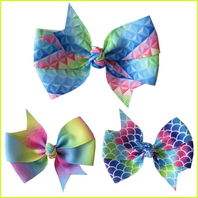 """50 BLESSING Girl 3.5/"""" Diamond Rainbow Stylish Hair Bow Clip Unicorn Clover Fruit"""