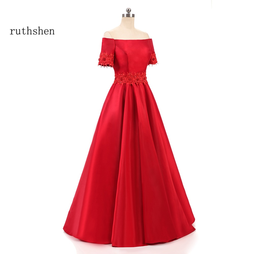 ruthshen Reflective   Dress     Prom     Dresses   2018 Off Shoulder Red Evening Gowns Women Beaded Satin Burgundy Formal Maxi   Dress   Gown