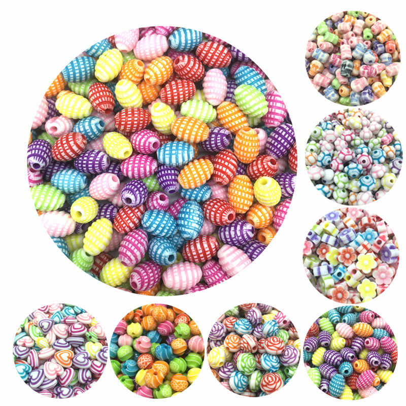 Cheap Colorful Geometry Shape Acrylic Beads Handmade DIY Bracelet Accessories Jewelry Making Wholesale Color Random Delivery