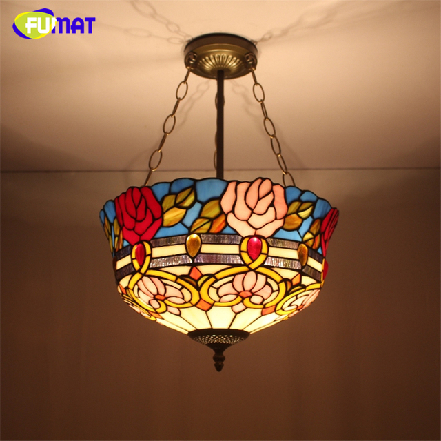 Fumat Stained Gl Pendant Light Antique Rose Shade Suspension Lights Living Room Baroque Kitchen Fixtures