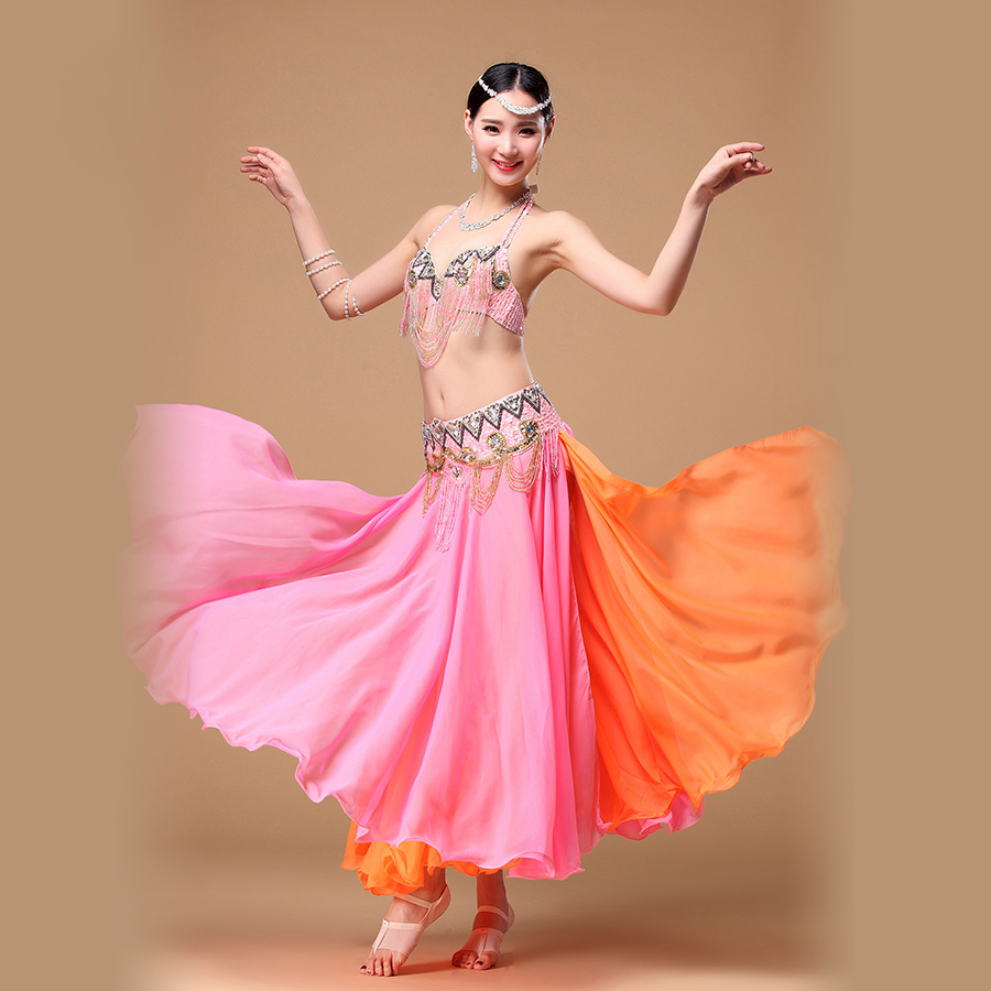 2018 Performance danse du ventre Costume 3 pièces soutien-gorge & ceinture & jupe 32b/c 34b/c 38b/c 4 couleurs