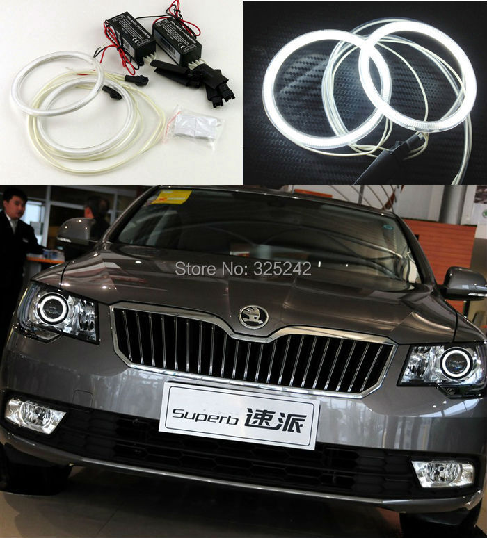 For skoda Superb 2008 2009 2010 2011 2012 2013 2014 Excellent Angel Eyes Ultra bright illumination CCFL Angel Eyes Halo Ring kit for honda odyssey 4th g rb3 rb4 chassis 2008 present excellent ultrabright headlight illumination ccfl angel eyes kit halo ring