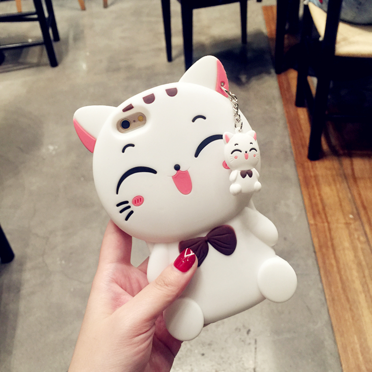 Squishy Cat Phone Case Iphone 8 : Kawaii 3D Cartoon Cat Phone Case with Pendant Soft Silicone Case for Iphone 7 7plus 6 6s 6plus 5 ...