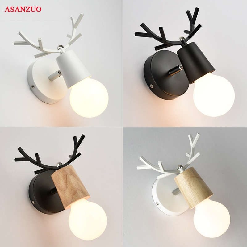 <font><b>Nordic</b></font> creative bedside <font><b>wall</b></font> <font><b>lamp</b></font> Simple staircase corridor hallway <font><b>lamps</b></font> Deer head bedroom living room <font><b>wall</b></font> lights image