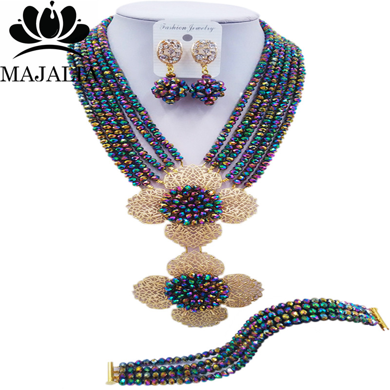 Majalia Classic Nigerian Wedding African Jewelery Set Multicolor plated Crystal Necklace ...