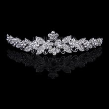 Beautiful Floral Wedding Tiara Sparkling Silver Plated  Crystal Pearl Bridal Hair Combs Hairpin Jewelry Hair Accessories