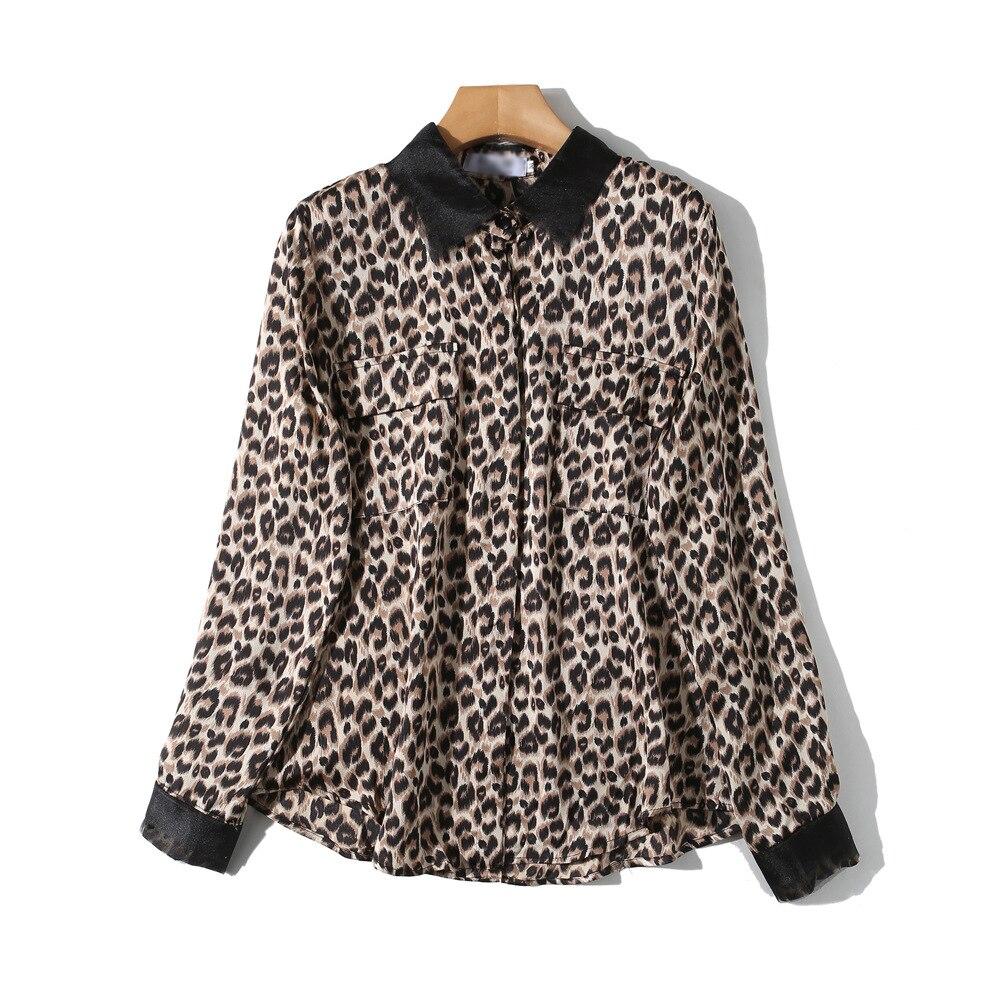 Manga Wreeima Ropa Tamaño Blusas 2019 Mujeres Giro Primavera Las abajo Camisas Leopardo Larga Animal Casual De Caqui Collar Print Plus Blusa nnPFW