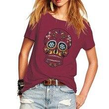 Новинка, женская футболка, цветочный принт с черепом, подростковые топы, футболка в стиле панк, уличный стиль, женская футболка с коротким рукавом, женские футболки