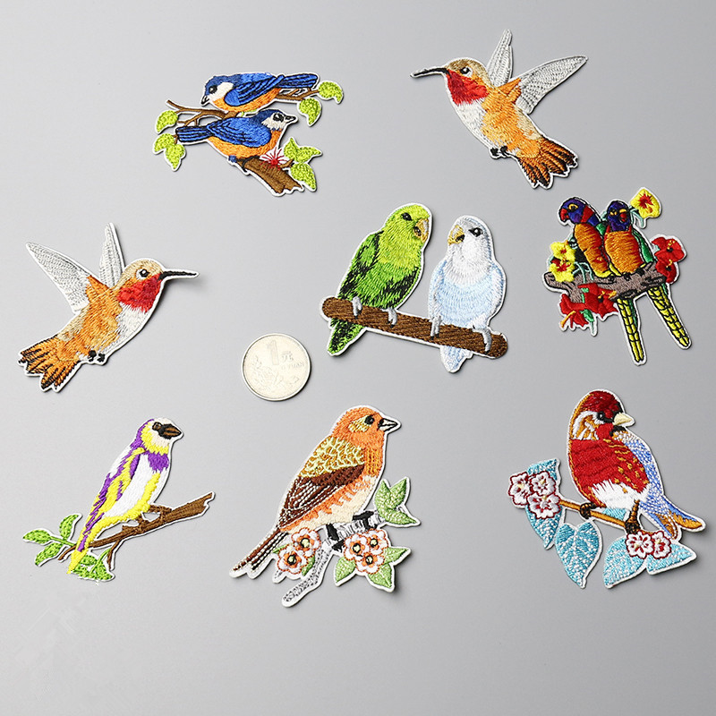 1 Piece embroidery birds patch for clothing cloth paste DIY dress bag shoes accessories iron-on glue patch