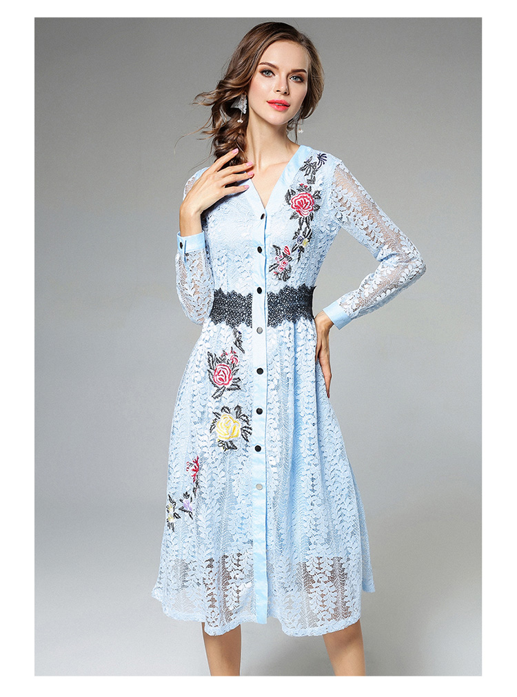 Sky Blue V-neck Floral Embroidered Lace Dress Autumn Dresses Women 2018 Vestido De Festa Hollow Out Christmas Dress K945180 8
