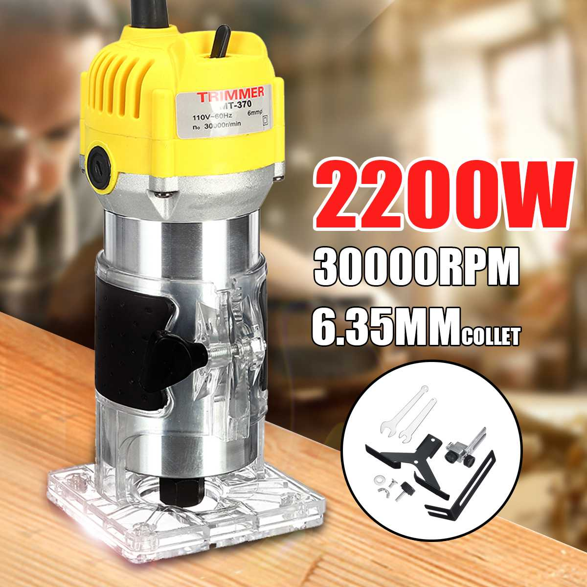 110V 220V 2200W Electric Hand Trimmer 6.35mm 1/4 Wood Router Bits Trimming Cutting Carving Machine Woodworking laminator Tool110V 220V 2200W Electric Hand Trimmer 6.35mm 1/4 Wood Router Bits Trimming Cutting Carving Machine Woodworking laminator Tool