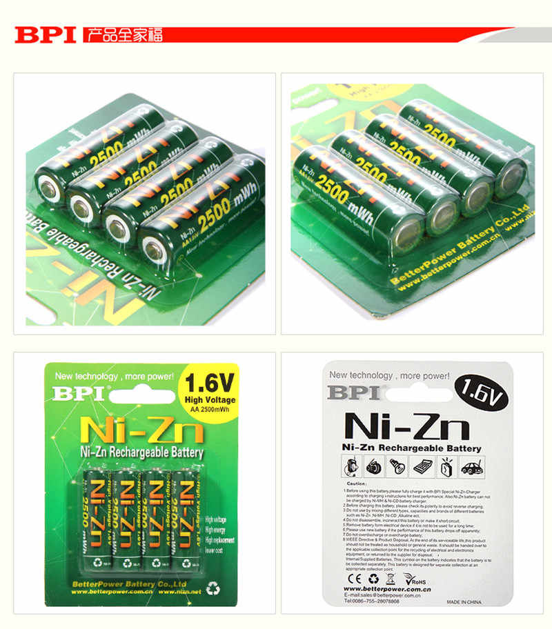 4 шт./лот, оригинал, BPI AA 2500mWh, 1,6 в, 1,5 в, NI-Zn аккумулятор, низкий уровень саморазряда, высокостойкие аккумуляторные батареи