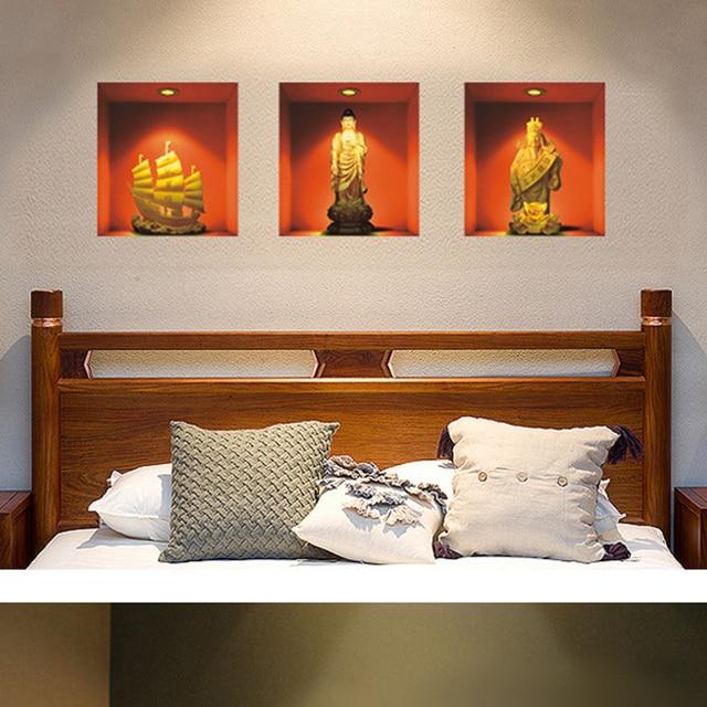 3D Wandaufkleber Simulation Buddha Statuen Wohnkultur Wandbild Kunst ...