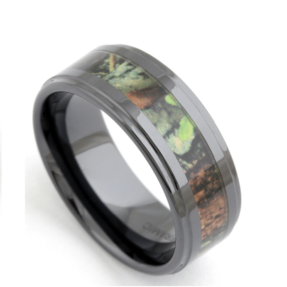 Tigrade Men's 8mm Ceramic Ring Wood Camo Inlay Gre