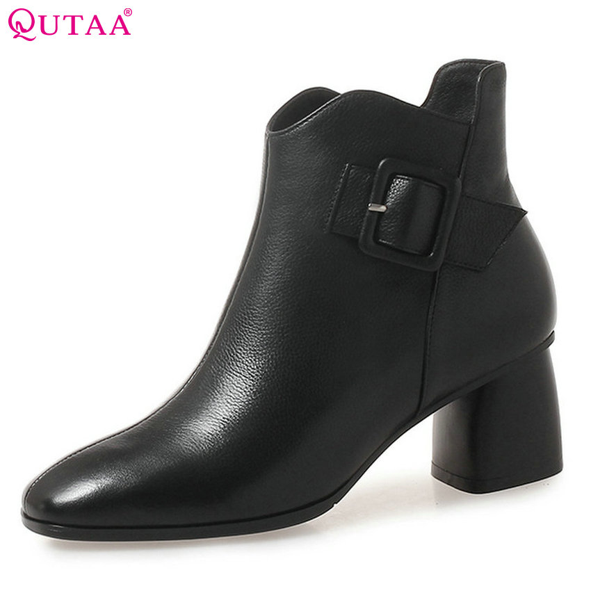 QUTAA 2019 Women Ankle Boots Casual Cow Leather +pu Square High Heel Winter Boots Women Shoes Women Motorcycle Boots Size 34-42 цена