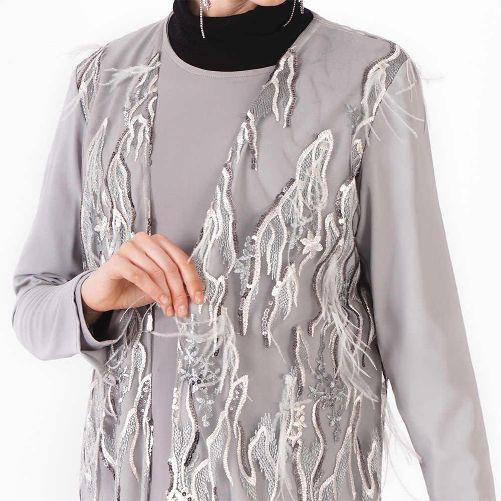 Мода мусульманский взрослых кардиган Исламская вышивка beadiing Верхняя одежда серый длинное платье-майка для девочек, L220