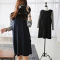 maternity clothes 2015 new fall fashion Korean pregnant women breastfeeding dress round neck striped pregnant women dresses
