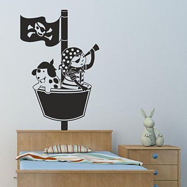 Muurstickers Kinderkamer Piraat.W212 Piratenkapitein Muursticker Voor Kinderkamer Piraten Schip